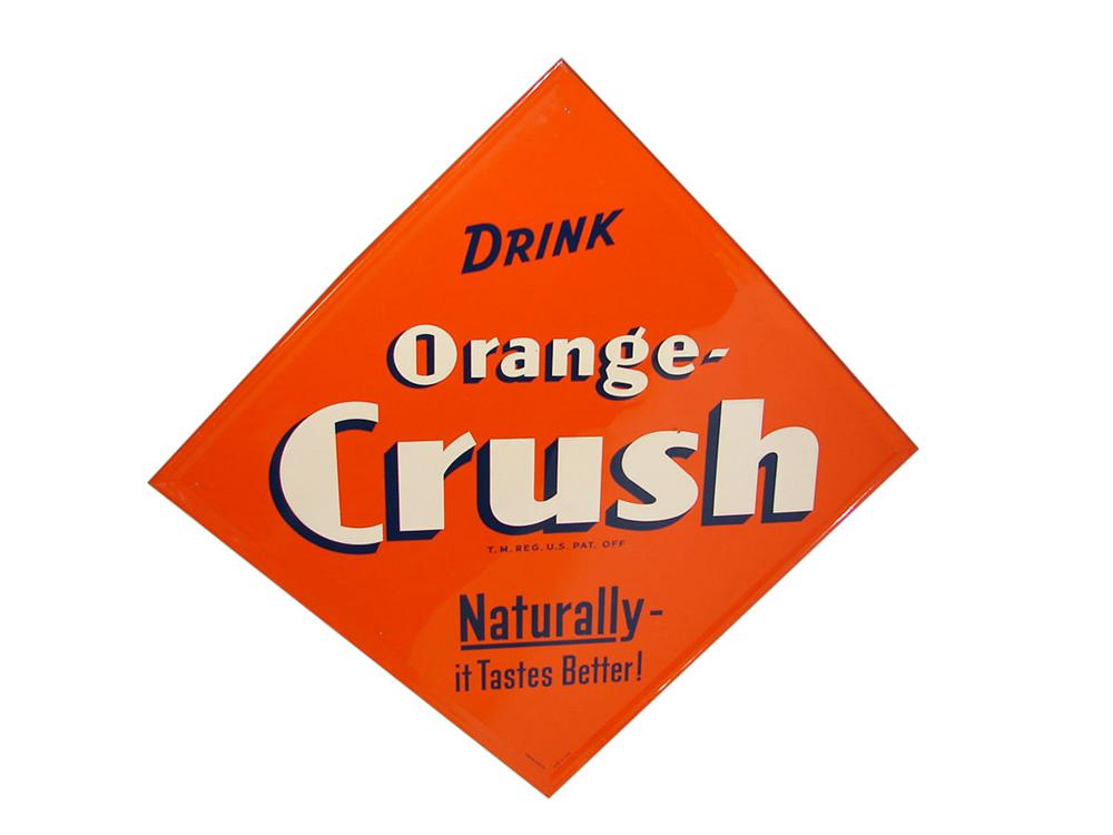Fantastic N.O.S. 1940s Orange Crush Soda self-framed embossed tin sign. - Front 3/4 - 108547