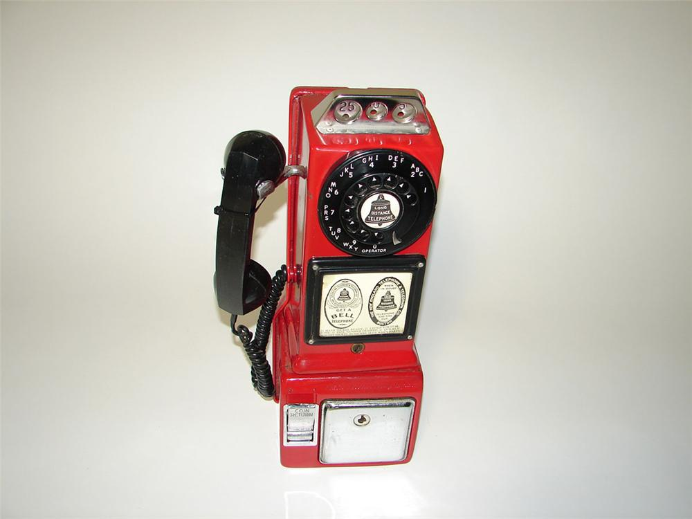 Neat 1940s-50s Bell Telephone porcelain service station pay phone. - Front 3/4 - 108551