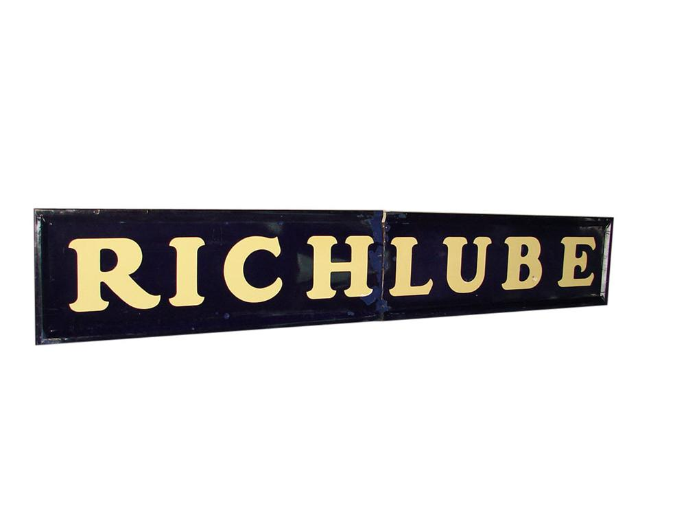 """Large 1940s-50s Richfield Oil """"Richlube"""" single-sided porcelain service station sign. - Front 3/4 - 108553"""