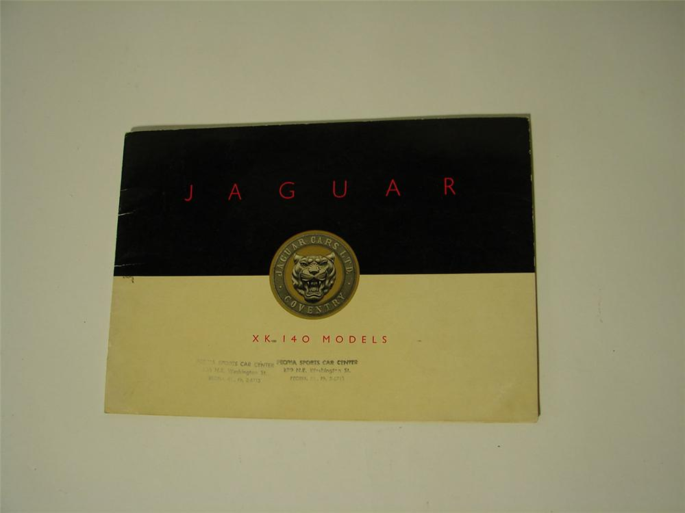 Museum quality 1955-1956 Jaguar XK-140 color showroom sales brochure filled with beautiful illustrations. - Front 3/4 - 108558