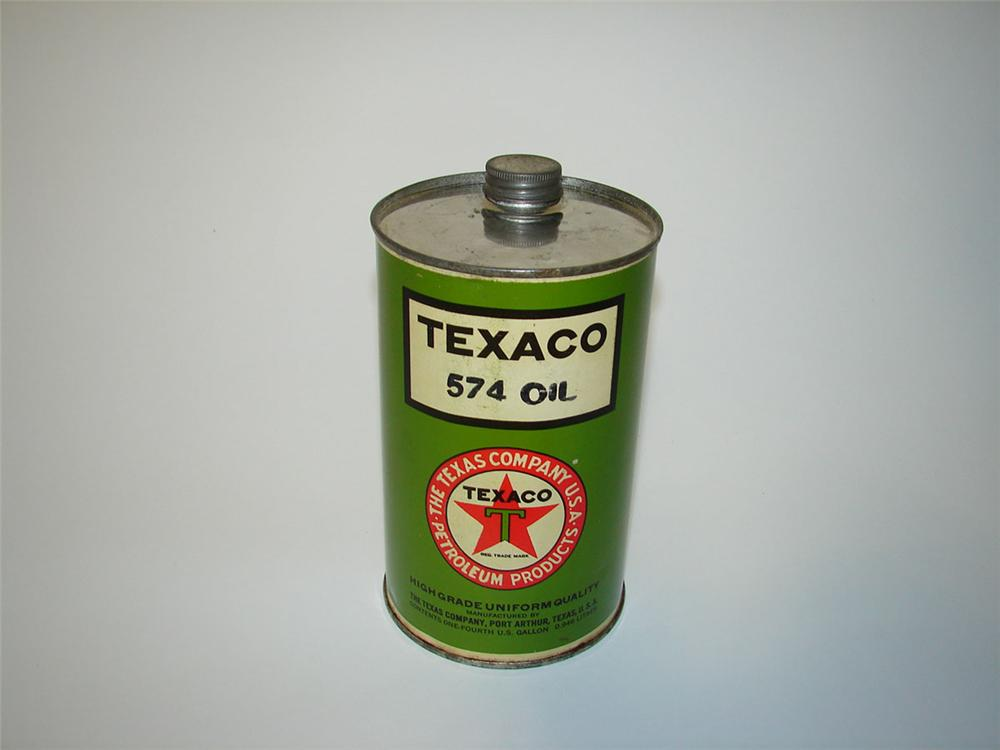 Magnificent 1920s Texaco Motor Oil solder seamed tin quart. - Front 3/4 - 108559