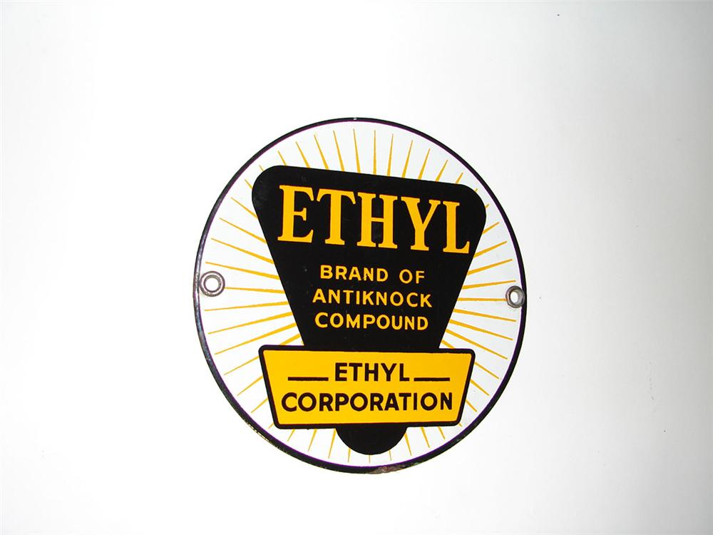 N.O.S. 1930s-40s Ethyl Gasoline single-sided porcelain pump plate sign. - Front 3/4 - 108560