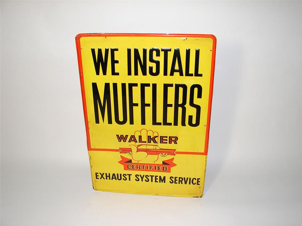 """Late 1950s We Install """"Walker Mufflers"""" single-sided embossed tin garage sign with neat graphics. - Front 3/4 - 108561"""