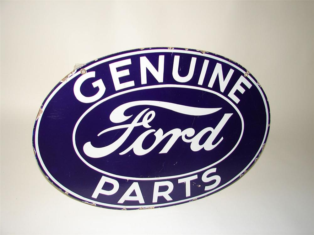 1930s Ford Genuine Parts double-sided porcelain dealership sign. - Front 3/4 - 108563