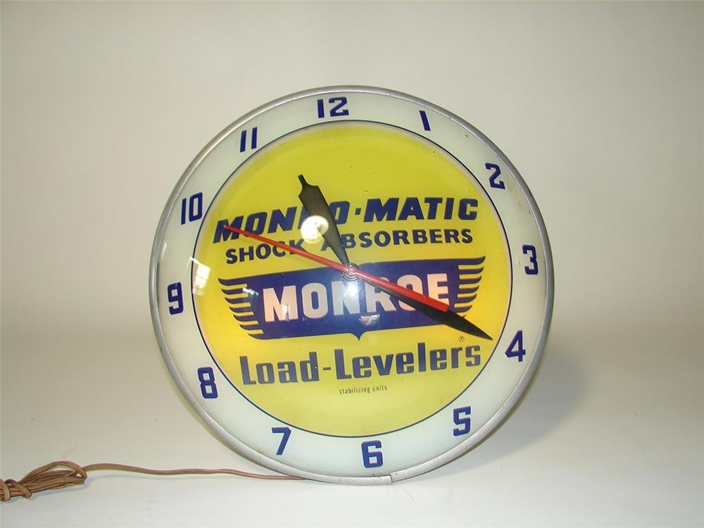 Impressive 1950s-60s Monroe Shock Absorbers double-bubble light up service garage clock. - Front 3/4 - 108565
