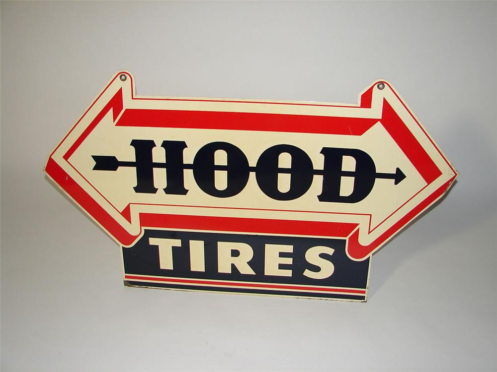 Very stylish 1940s Hood Tires double-sided tin painted garage sign. - Front 3/4 - 108572