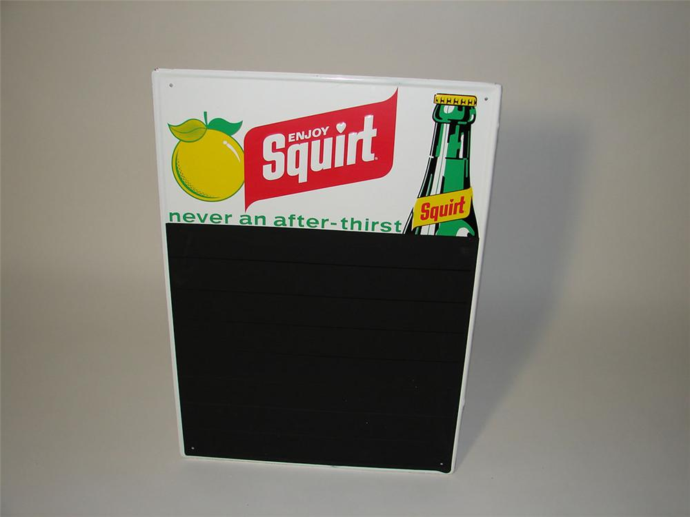 N.O.S. 1960s Squirt Soda tin sign with embossed bottle graphic. - Front 3/4 - 108578