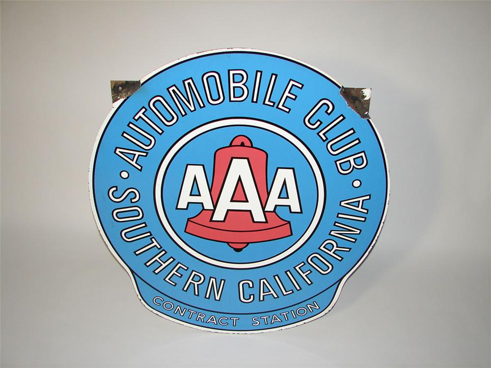 Highly desirable 1950s Automobile Club of Southern California double-sided porcelain garage sign. - Front 3/4 - 108581