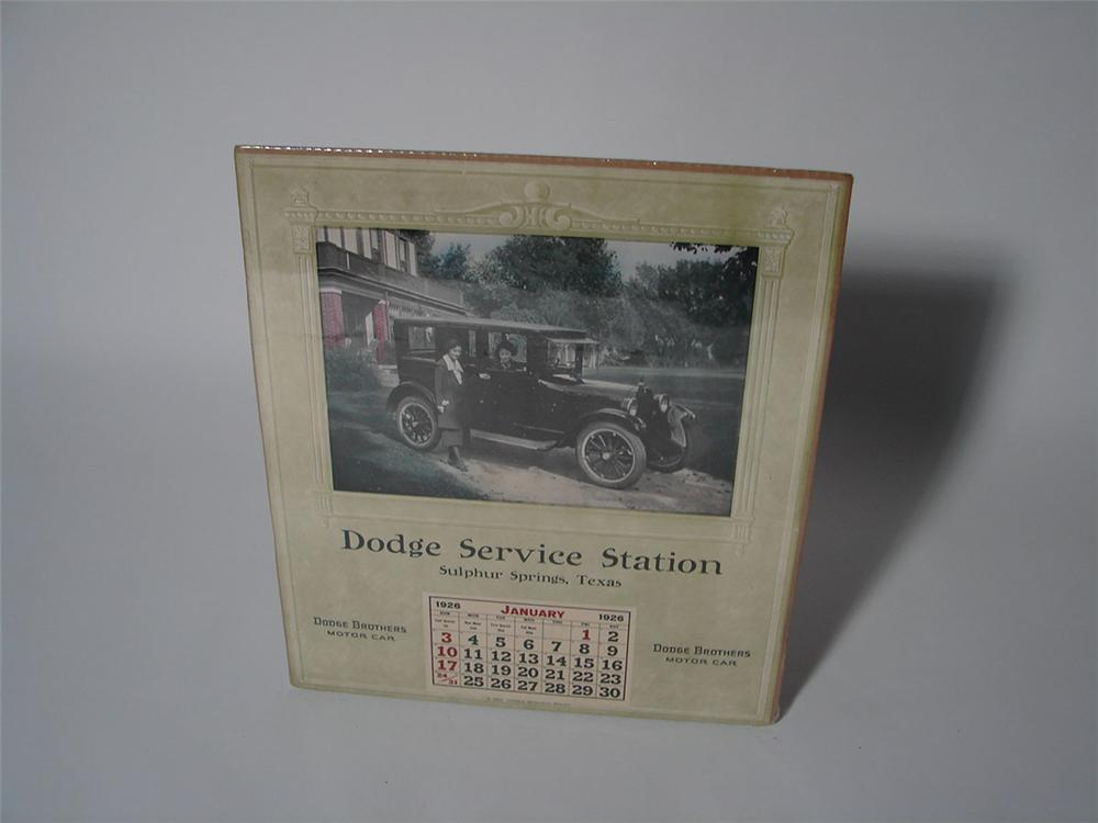 Museum quality N.O.S. 1926 Dodge Service of Sulphur Springs Texas dealership calendar. - Front 3/4 - 108582
