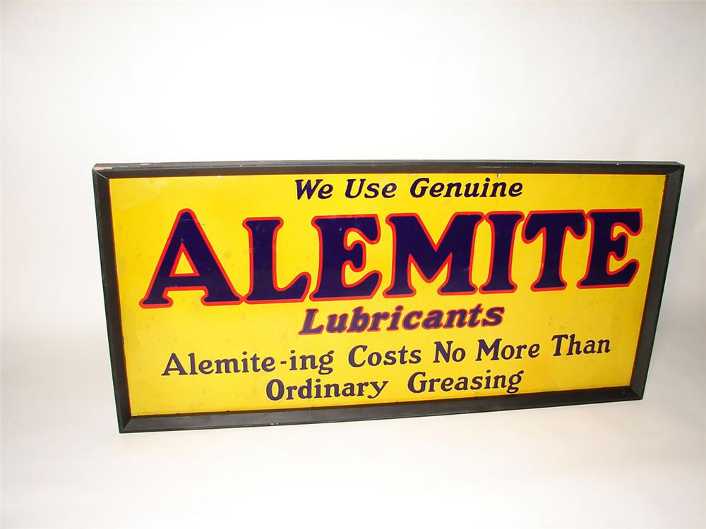 Large 1930s Alemite Automotive Lubricants porcelain garage sign with wood frame - Front 3/4 - 108583