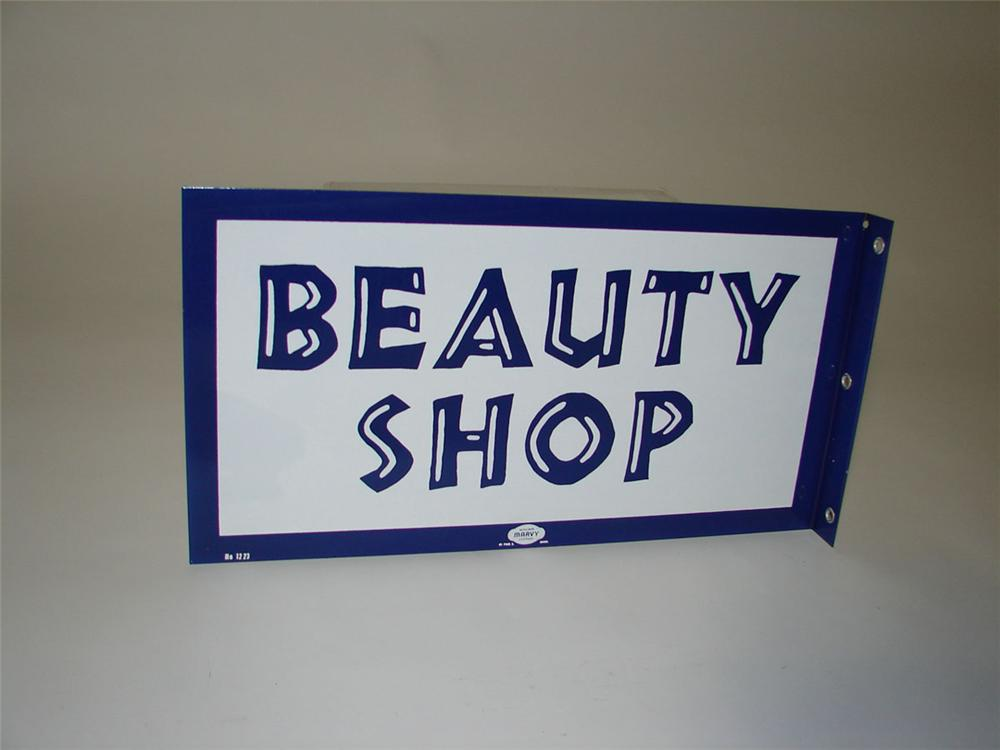 N.O.S. late 1950s-60s Beauty Shop double-sided porcelain flange sign. - Front 3/4 - 108586