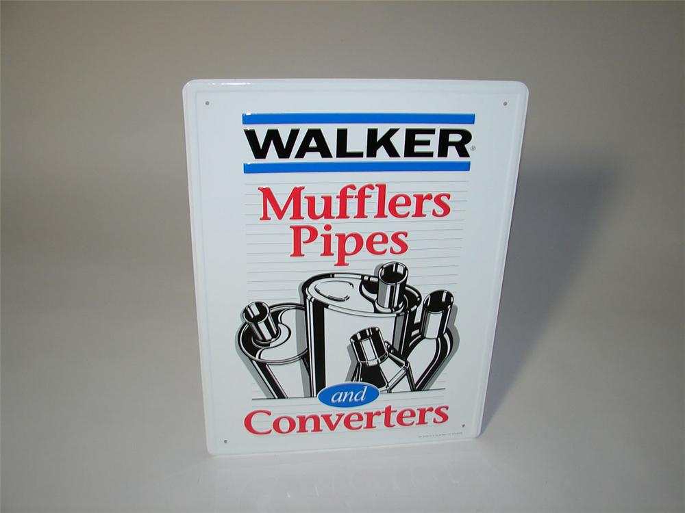 N.O.S. Walker Mufflers, Pipes, and Converters single-sided embossed tin garage sign. - Front 3/4 - 108587