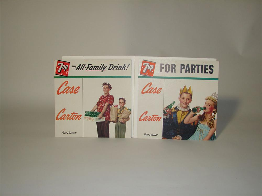 Lot of two 1950s 7-up store display cardboard signs. - Front 3/4 - 108589