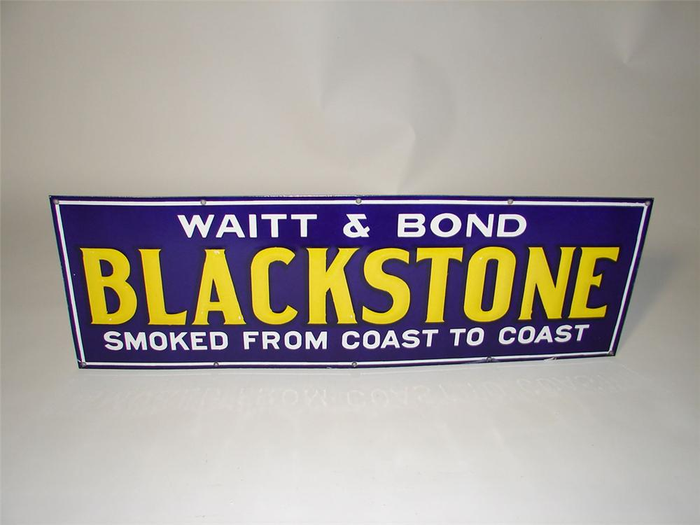 "Phenomenal 1930s Waitt and Bond Blackstone Cigar ""Smoked from Coast to Coast"" porcelain general store sign - Front 3/4 - 108590"