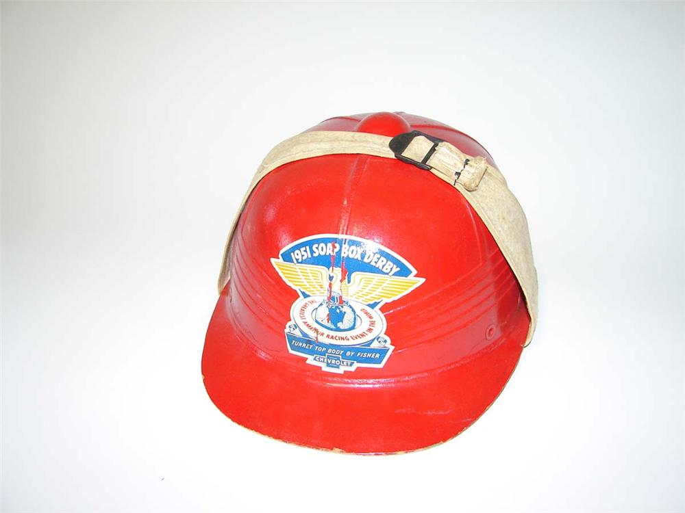 Fun 1951 Chevrolet Soap Box Derby racing helmet. - Front 3/4 - 108591