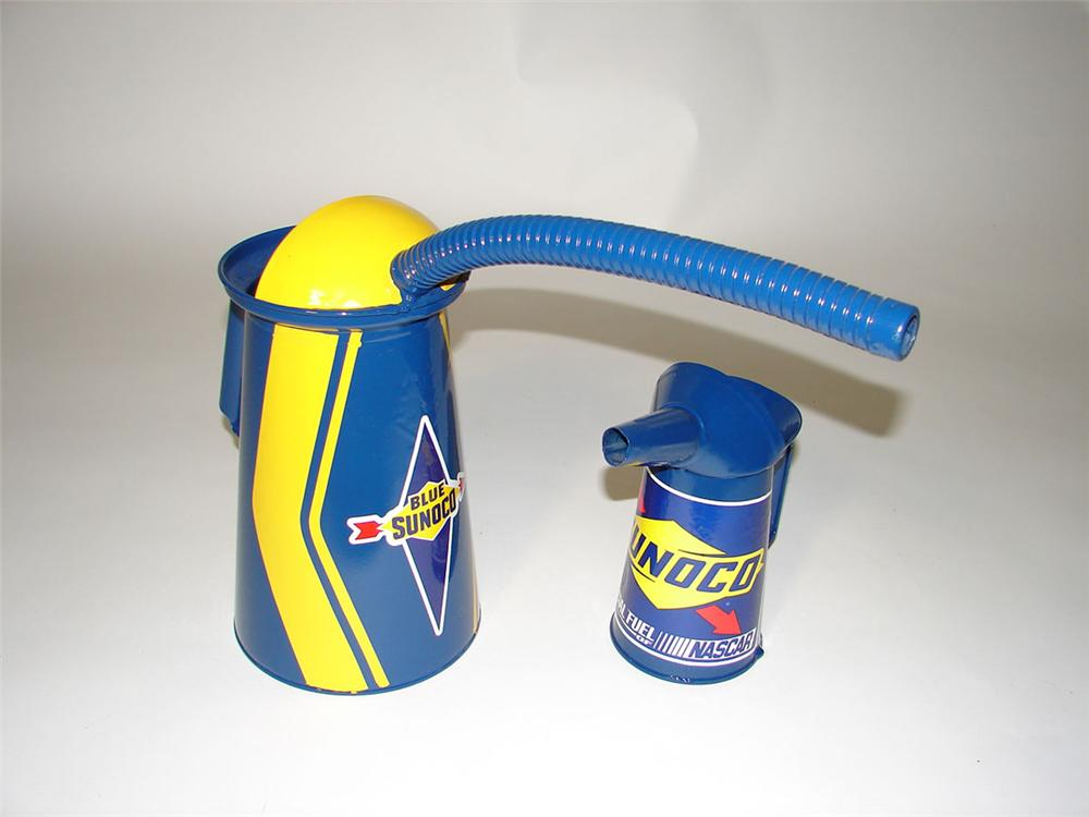 Lot of two vintage service station oil cans restored in Sunoco Oil regalia. - Front 3/4 - 108593