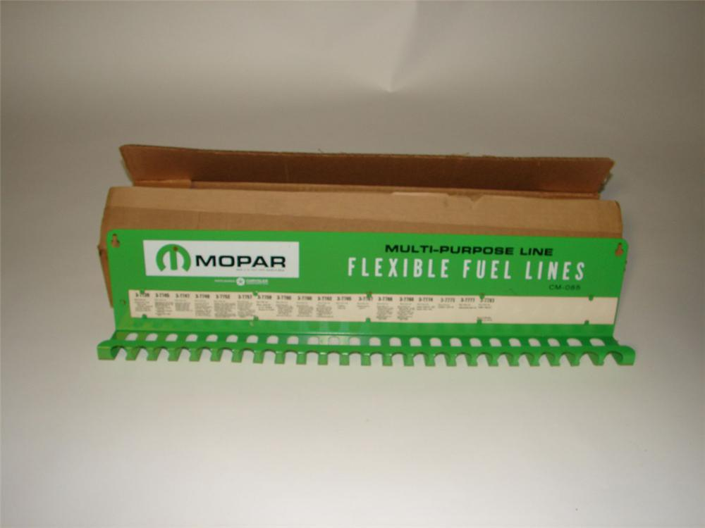 N.O.S. 1961 Mopar Flexible Fuel Lines service department metal display rack still in the original shipping box. - Front 3/4 - 108594