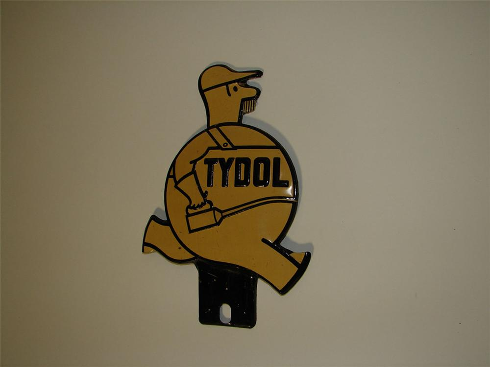 """N.O.S. 1930s Tydol Oil """"service man"""" die-cut tin license plate attachment sign. - Front 3/4 - 108595"""