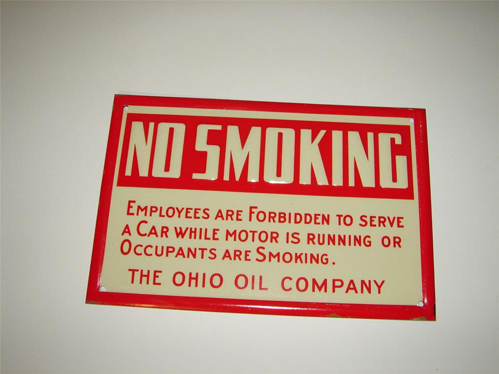 """N.O.S. 1930s Ohio Oil """"No Smoking"""" embossed tin service station fuel island sign. - Front 3/4 - 108596"""