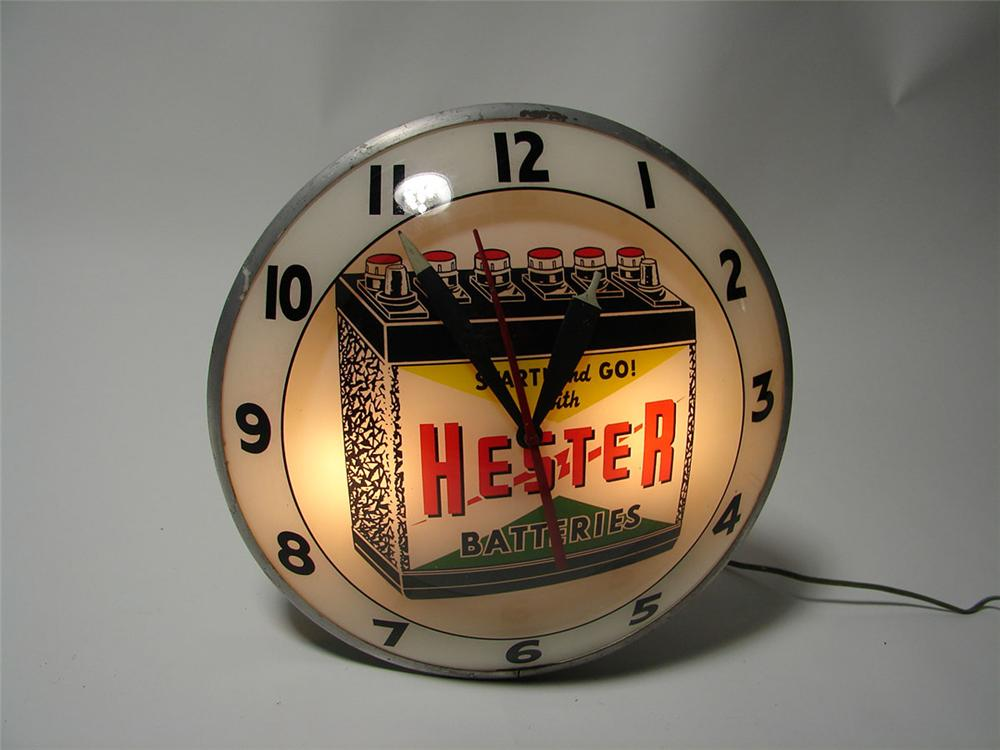 Killer 1950s Hester Batteries double-bubble glass faced light-up station clock. - Front 3/4 - 108600