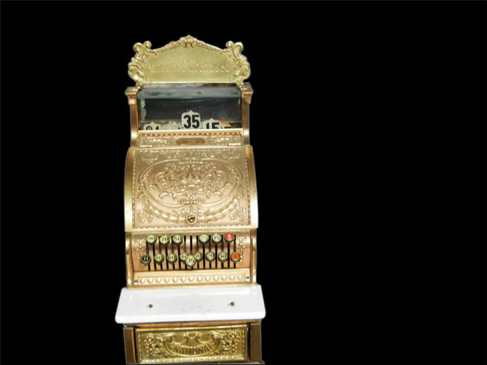 Wonderful turn of the century National Brass Cash Register model #313. - Front 3/4 - 108615