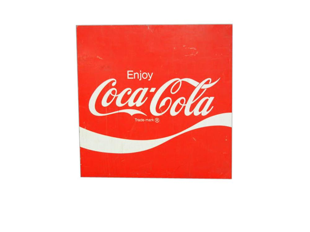 Late 60s-early 70s Enjoy Coca-Cola tin service station sign. - Front 3/4 - 108616
