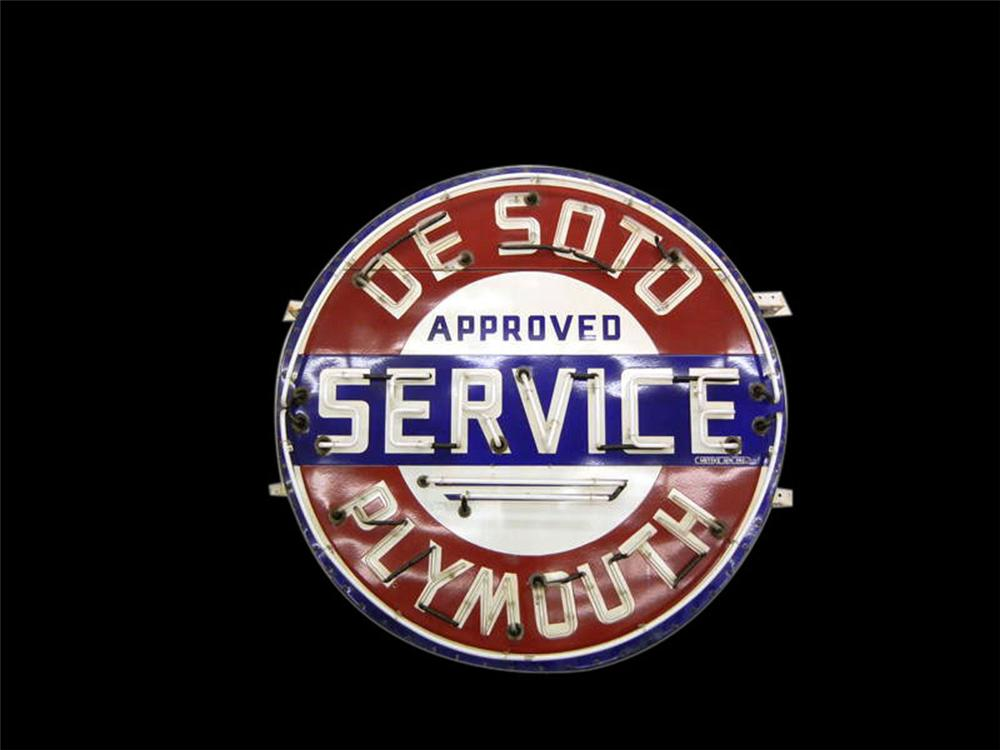 Fantastic 1940s De Soto - Plymouth Approved Service single-sided neon porcelain dealership sign. - Front 3/4 - 108617