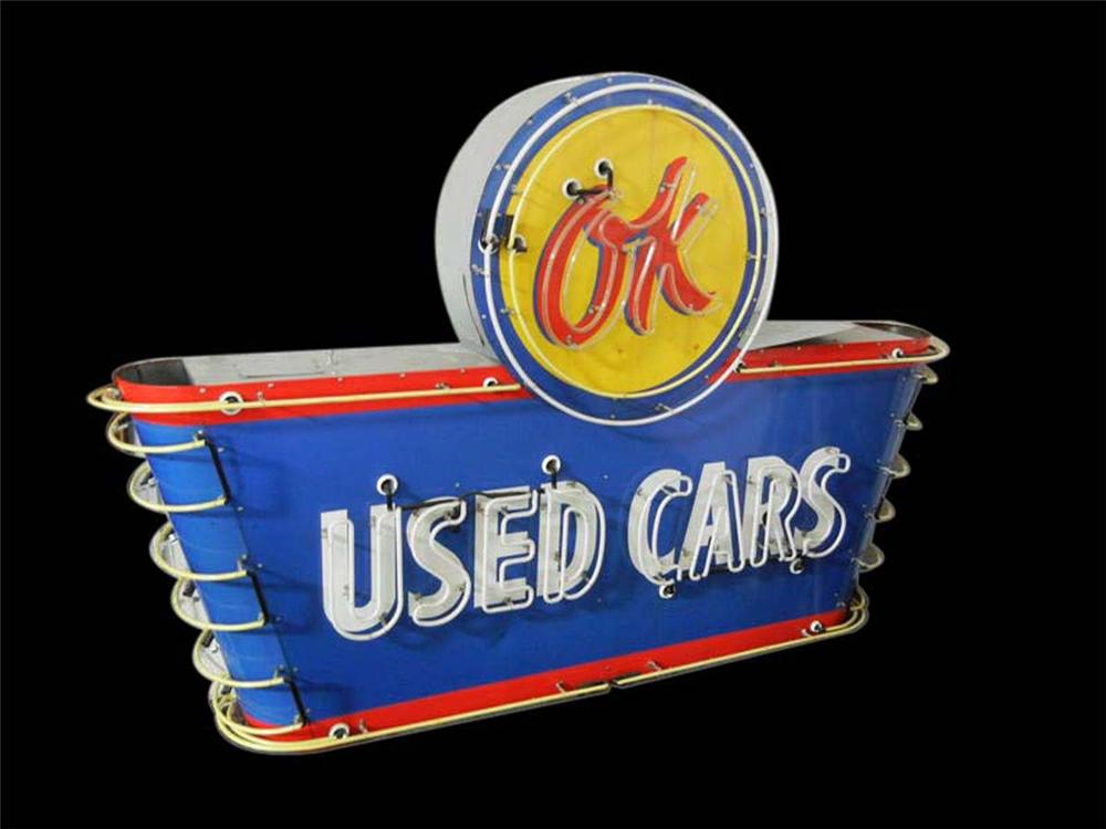 Stunning 1950s Chevrolet OK Used Cars single-sided neon porcelain dealership sign. - Front 3/4 - 108621