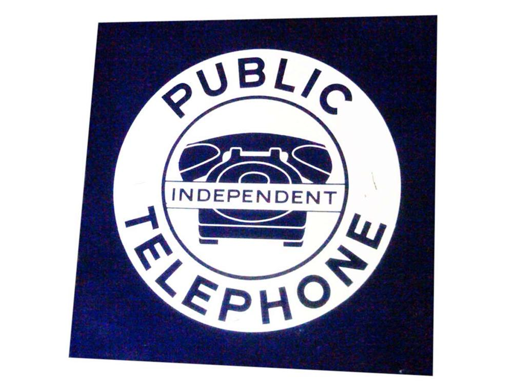 Iconic 1950s Public Telephone double-sided porcelain sign with phone graphic. - Front 3/4 - 108623