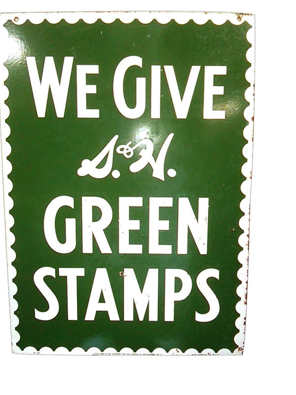 Highly desirable 1950s S&H Green Stamps double-sided porcelain service station sign. - Front 3/4 - 108624