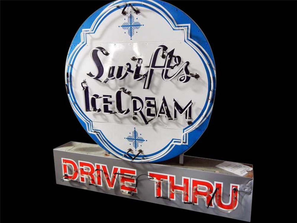 "Stunning and large Swifts Ice Cream ""Drive Thru"" double-sided porcelain neon sign. - Front 3/4 - 108625"