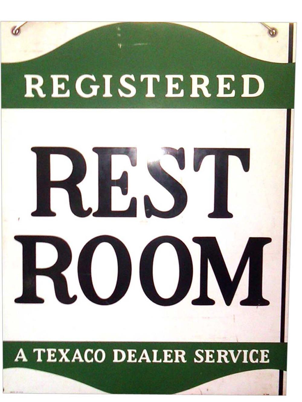 "1950s Texaco Service Station ""Registered Clean Rest Room"" double-sided tin sign. - Front 3/4 - 108626"