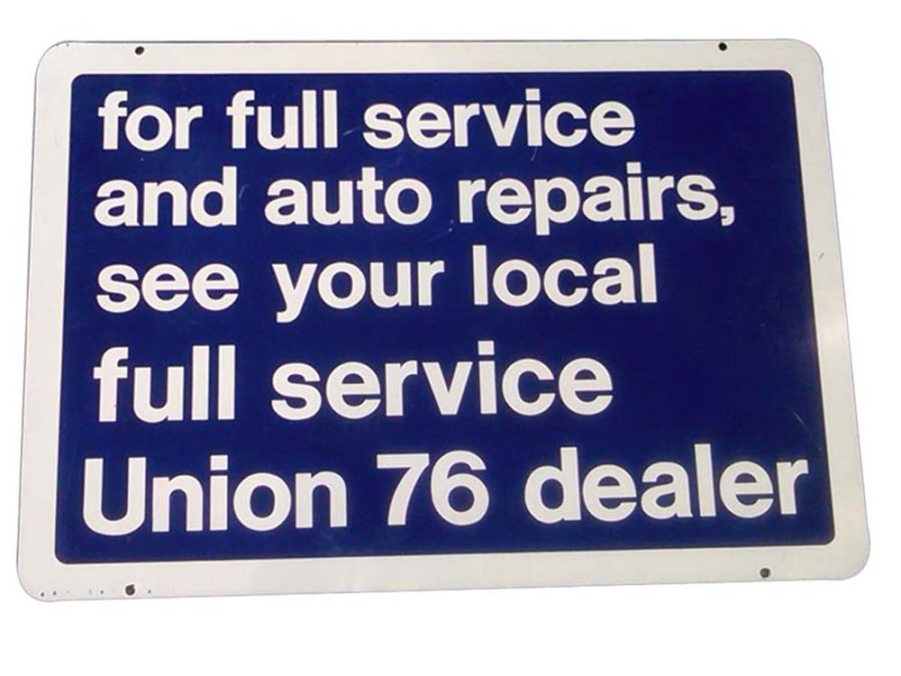 "Union 76 service station ""Full Service and Auto Repairs"" double-sided porcelain sign and in near perfect condition. - Front 3/4 - 108627"