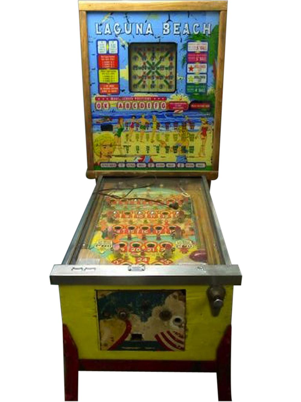 "Fun 1960 Bally Laguna Beach ""Bingo"" pinball machine. - Front 3/4 - 108630"