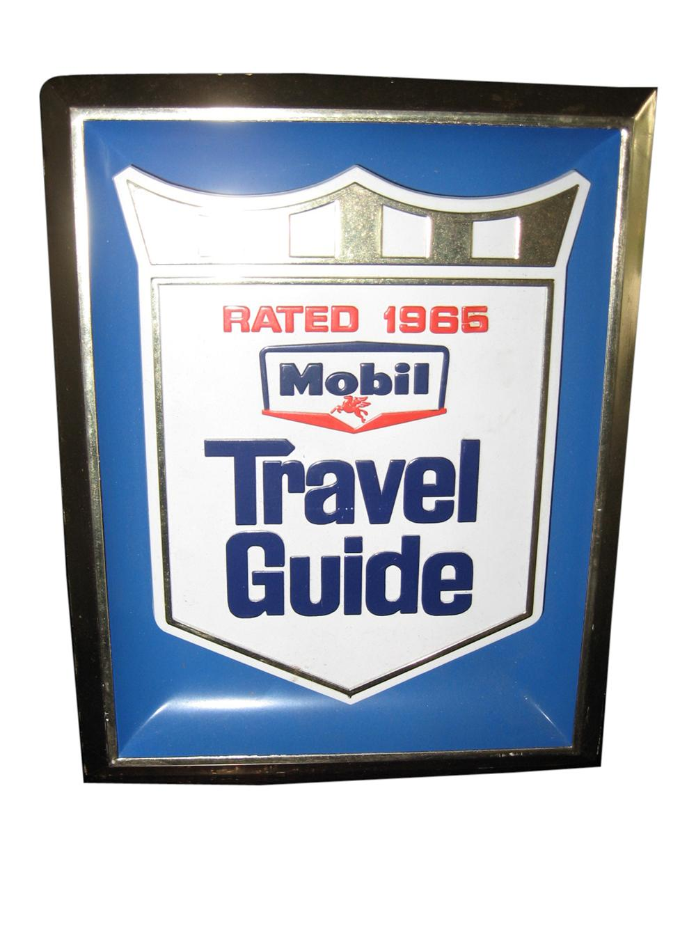 Fabulous 1965 Mobil Travel Guide counter-top display sign. - Front 3/4 - 108632