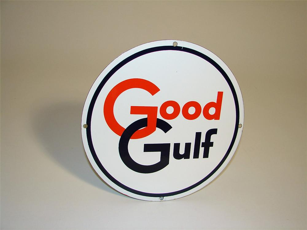 Sharp N.O.S. late 1950s Good Gulf Gasoline porcelain pump plate sign. - Front 3/4 - 108635
