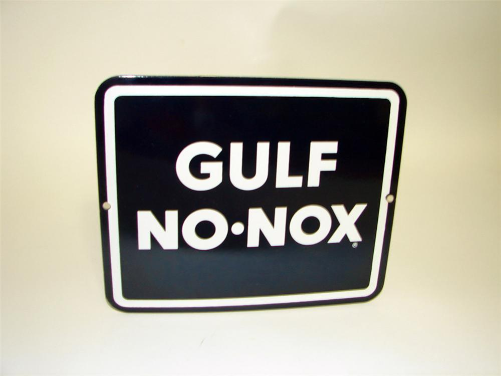 N.O.S. 1960s Gulf No-Nox Gasoline porcelain pump plate sign. - Front 3/4 - 108636