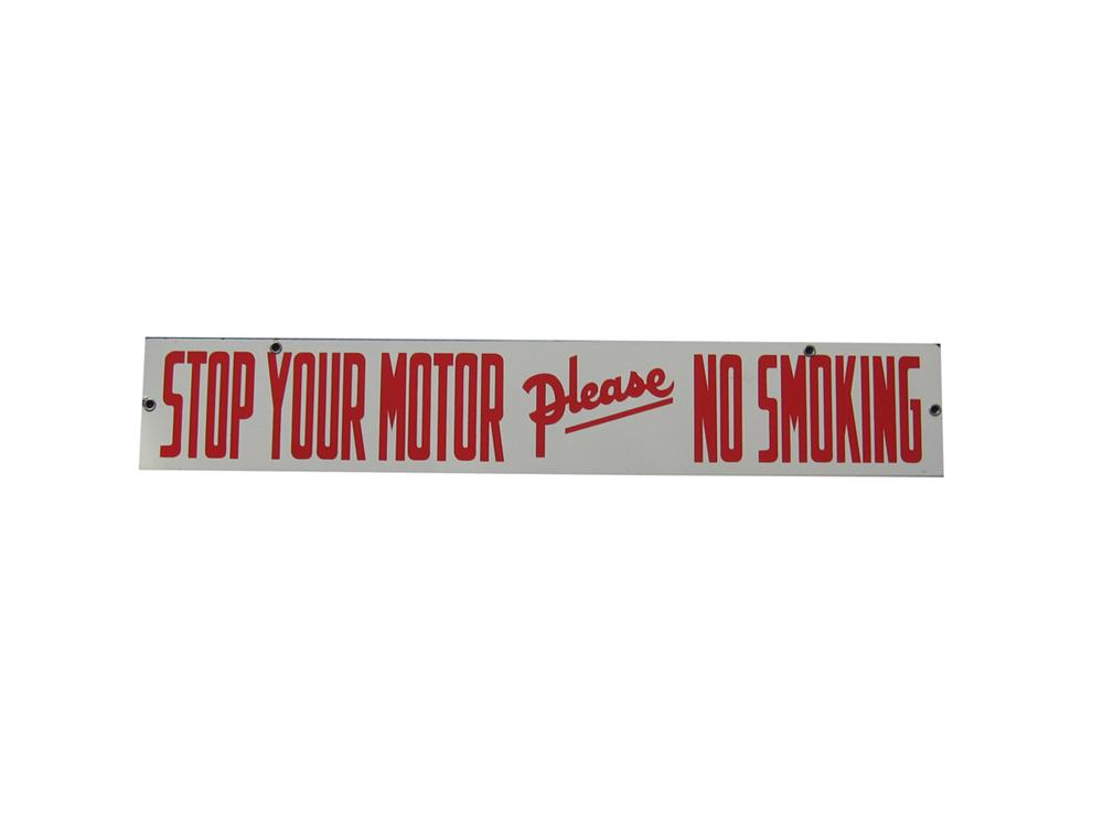 1940s Stop Your Motor Please - No Smoking porcelain service station fuel island sign. - Front 3/4 - 108650