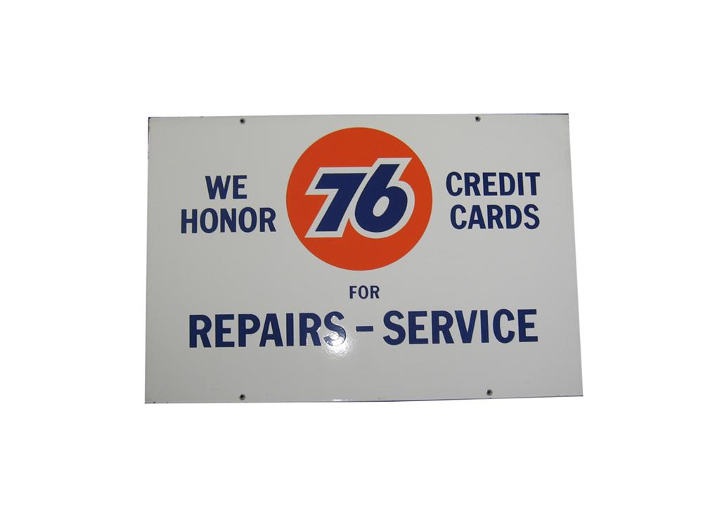 Very nice 1950s-60s We Honor Union 76 Credit Cards for Repairs and Service porcelain service station sign. - Front 3/4 - 108652