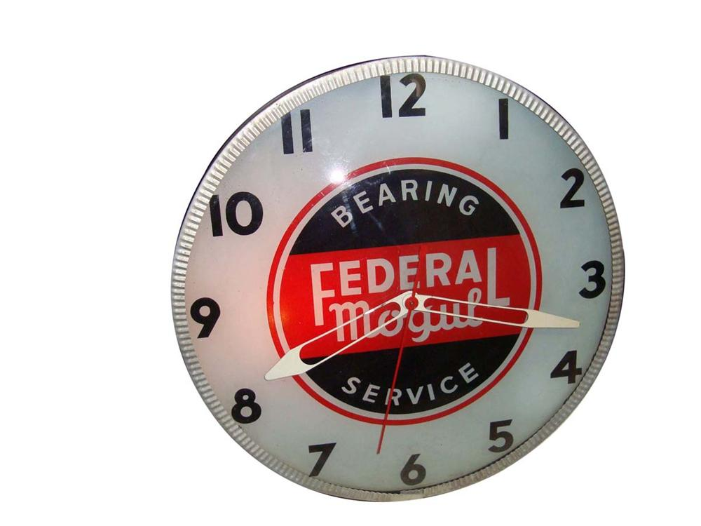 Excellent 1940s-50s Federal Mogul Automotive Bearing Service glass faced light-up garage clock. - Front 3/4 - 108669