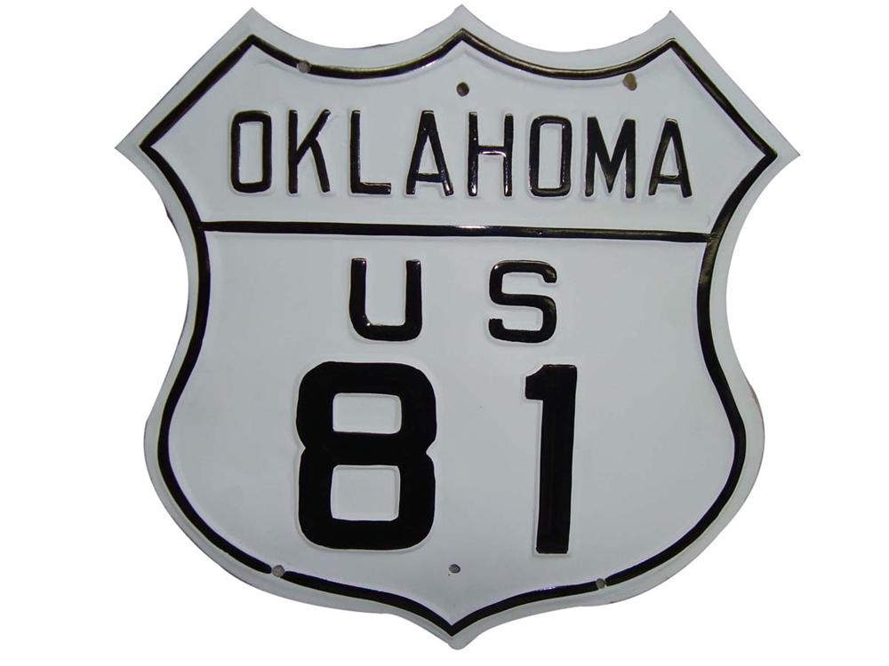 Nicely restored 1950s Oklahoma U.S. 81 embossed highway road sign. - Front 3/4 - 108671