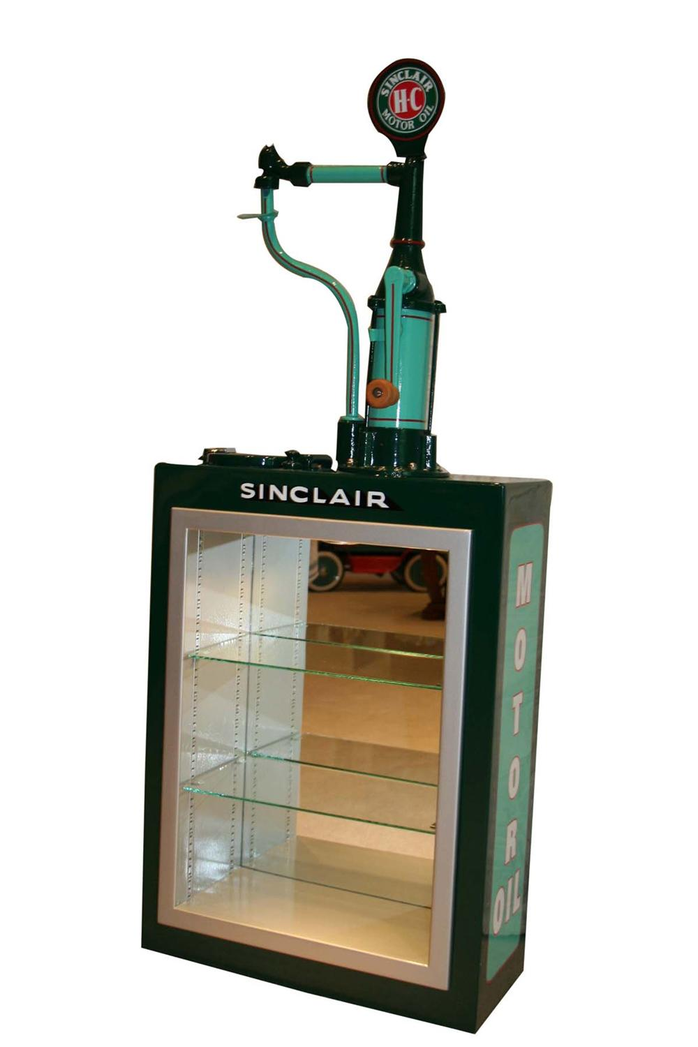 Absolutely stunning 1920s-30s Sinclair Oil hand crank oil lubester cleverly and professionally converted into a lighted disp... - Front 3/4 - 108675