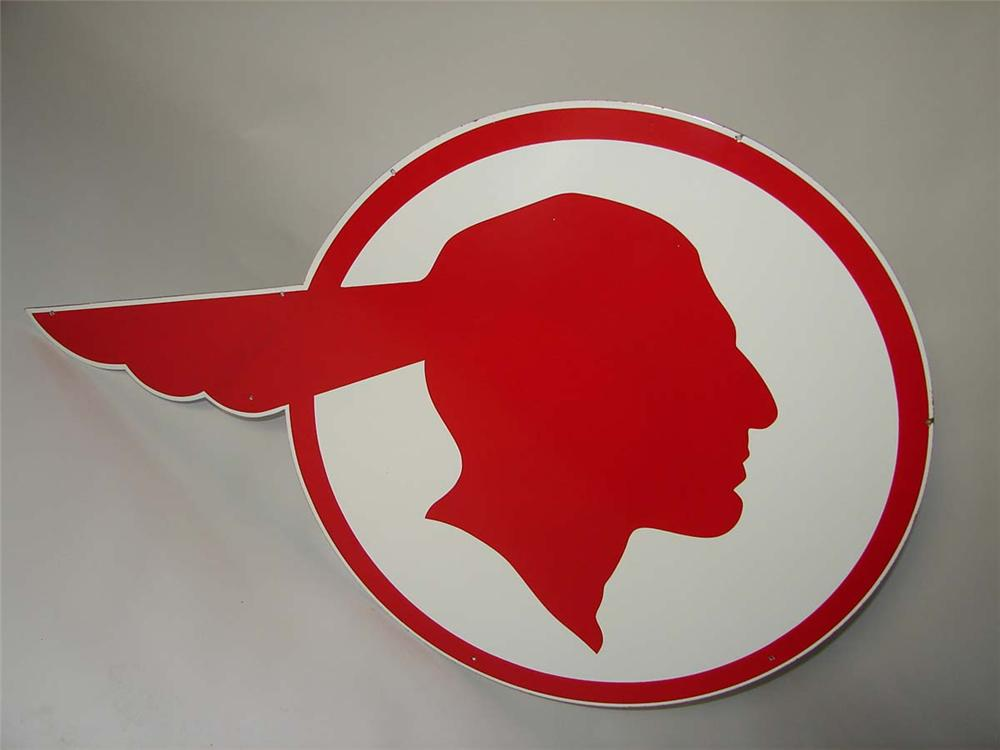 Extraordinary 1940s-50s Pontiac Automobiles Chieftain Head single-sided porcelain dealership sign. - Front 3/4 - 108680