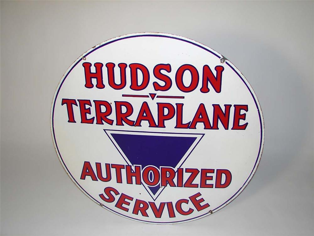 Scarce 1930s Hudson Terraplane Automobiles double-sided porcelain dealership sign. - Front 3/4 - 108681