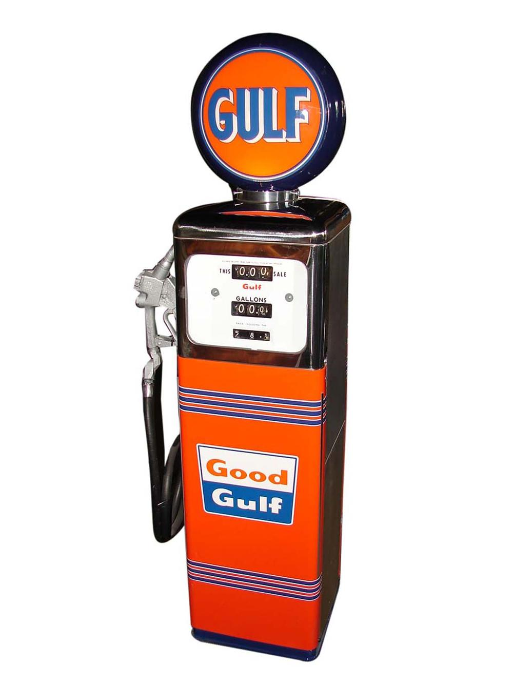 Striking 1950s Gulf Oil Southwest Model #1 service station gas pump with globe. - Front 3/4 - 108682