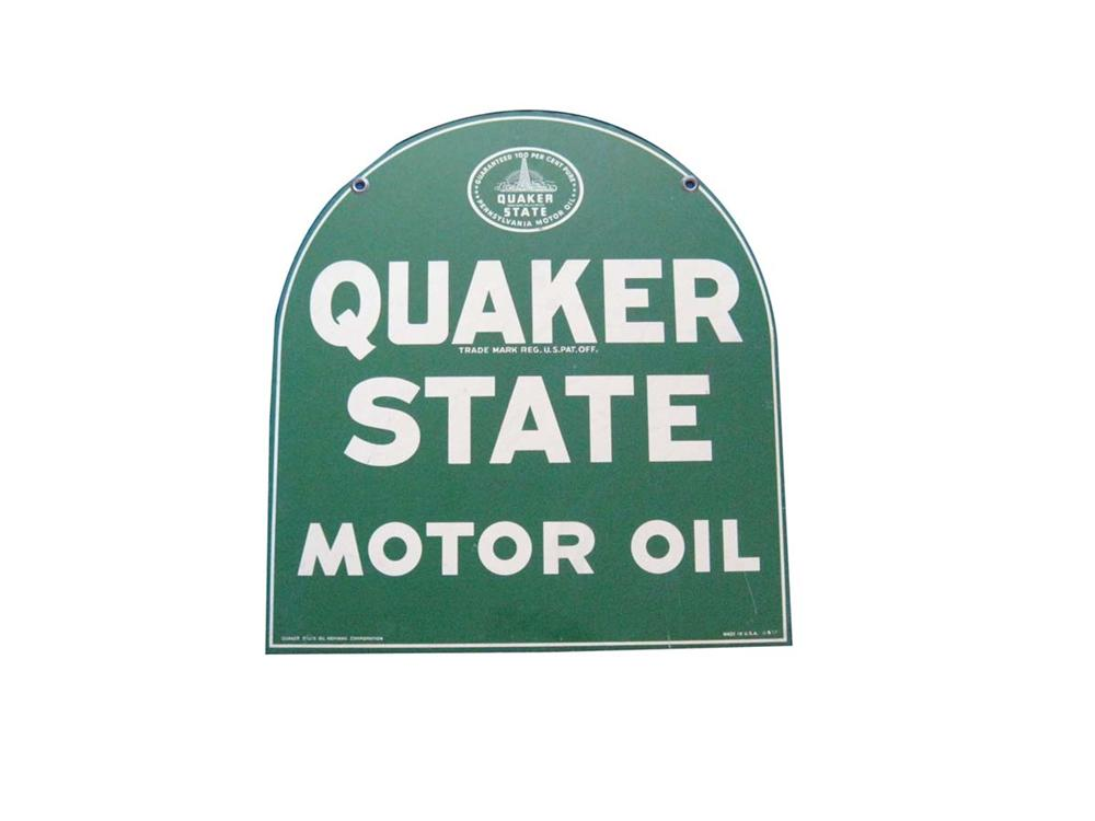 Very nice 1957 Quaker State Motor Oil double-sided tin painted garage sign. - Front 3/4 - 108686