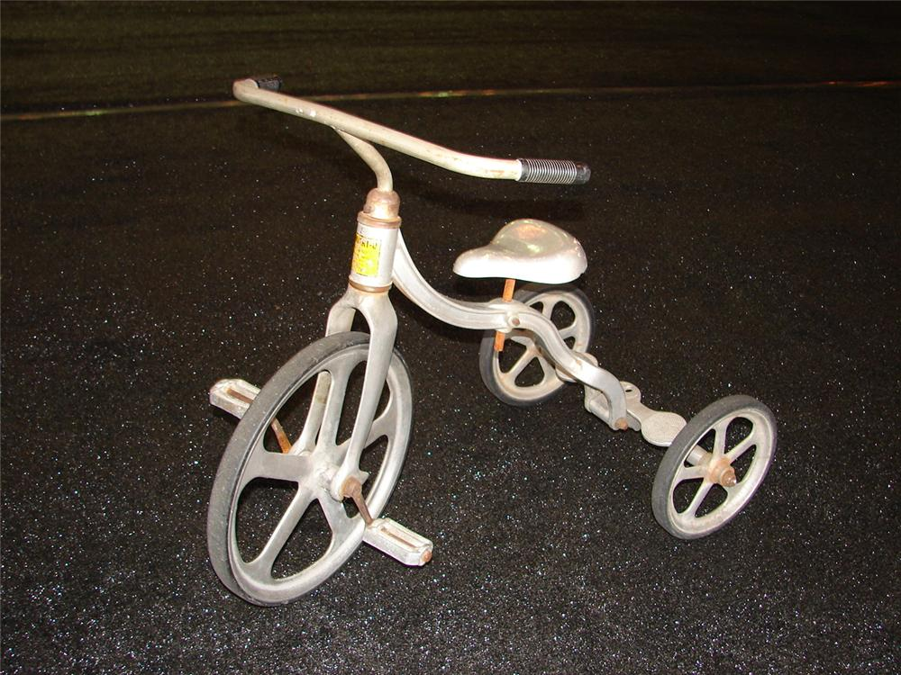 Nifty 1940s Convert-O All Aluminum childs tricycle. - Front 3/4 - 110293