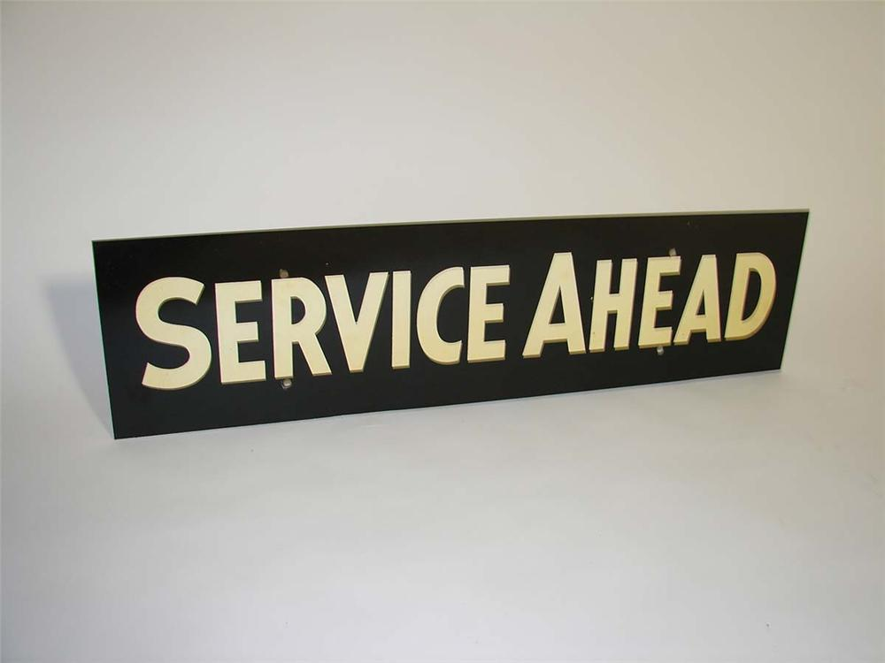 """Neat N.O.S. 1940s Filling Station """"Service Ahead"""" single-sided tin sign. - Front 3/4 - 112920"""