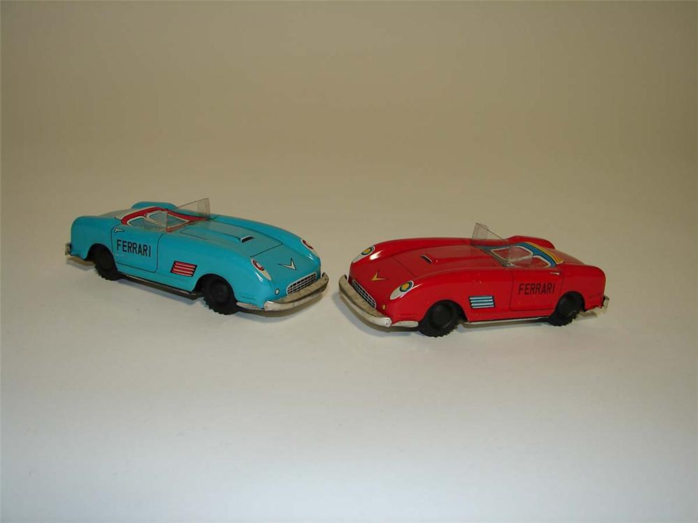 Pair of vintage 1960s Ferrari friction drive tin litho race cars. Appear to have been gently used! - Front 3/4 - 112921