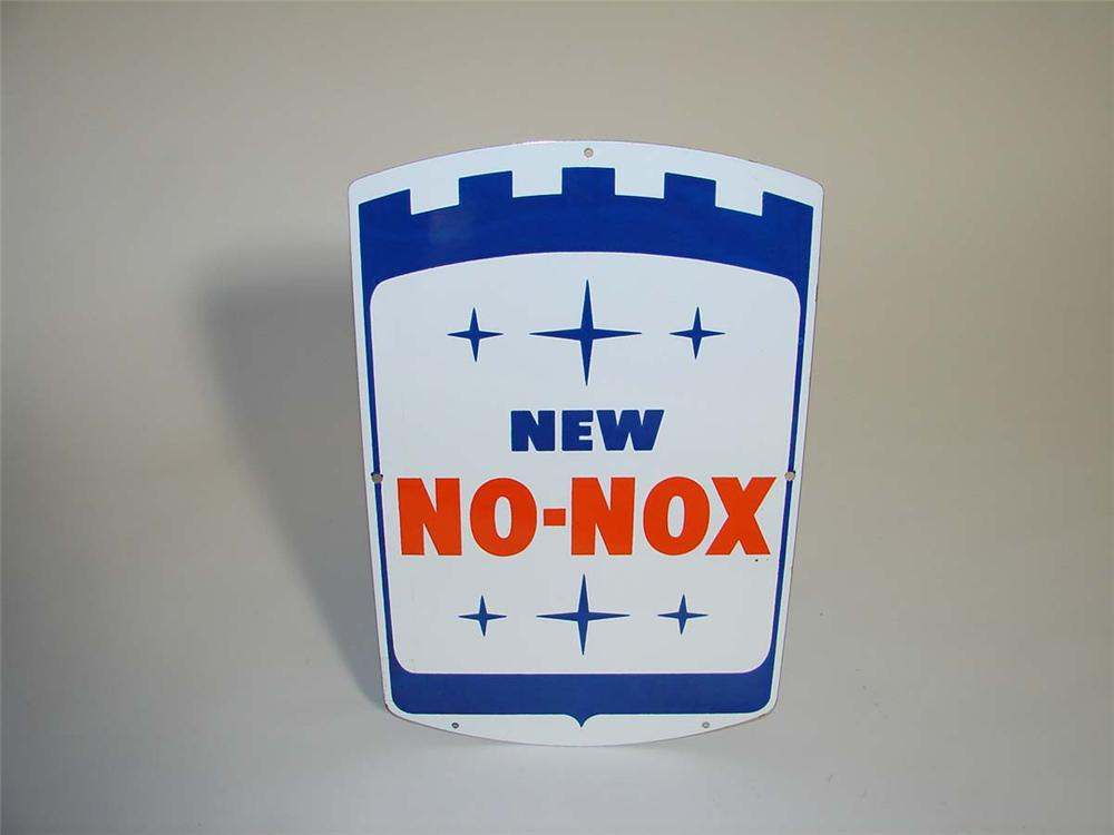 N.O.S. late 50s-60s Gulf New No-Nox porcelain pump plate sign. - Front 3/4 - 112922